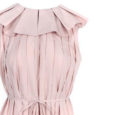 pin-tuck detail long dress pink
